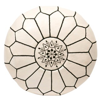 Embroidered Leather Pouf, Black on White
