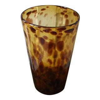 Italian Tortoise Glass Vase