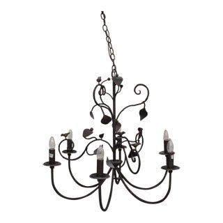 Custom Iron Bird & Leaf Chandelier