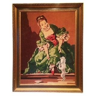 Vintage Framed French Needlepoint Tapestry