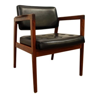 Mid-Century Danish Modern Swedish Walnut Open Arm Lounge Chair