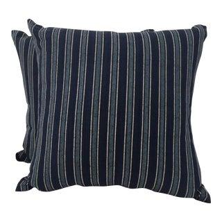 Ralph Lauren Navy Blue & Off-White Pillow Cases - a Pair