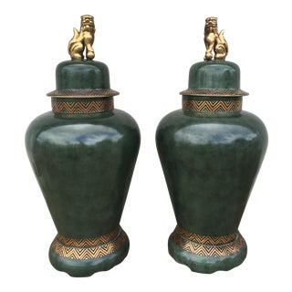 Foo Dog Vase Ginger Jars - A Pair