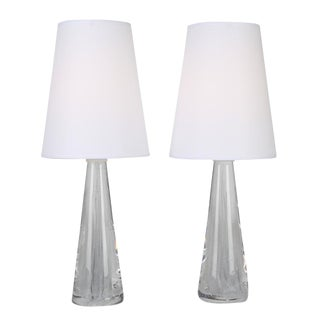PAIR OF 1960S SOLID GLASS LAMPS WITH INTERNAL BUBBLES BY VICKE LINDSTRAND FOR KOSTA