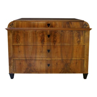 Handsome Austrian Biedermeier Walnut Four-Drawer Chest with Inlaid Decoration