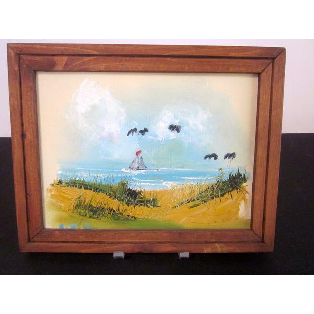 Coastal Beach Scene Signed Painting - Image 5 of 9