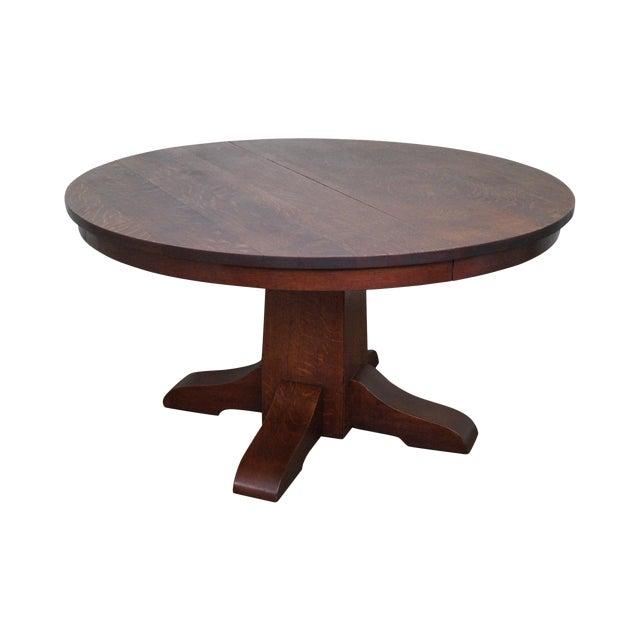Antique Gustav Stickley Round Mission Oak Dining Table 6 Leaves