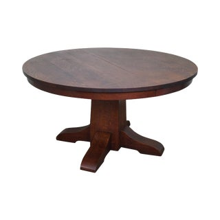 Antique Gustav Stickley Round Mission Oak Dining Table & 6 Leaves