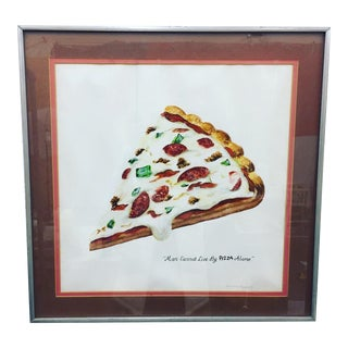 "Original ""Pizza"" Watercolor Art in Chrome Frame"