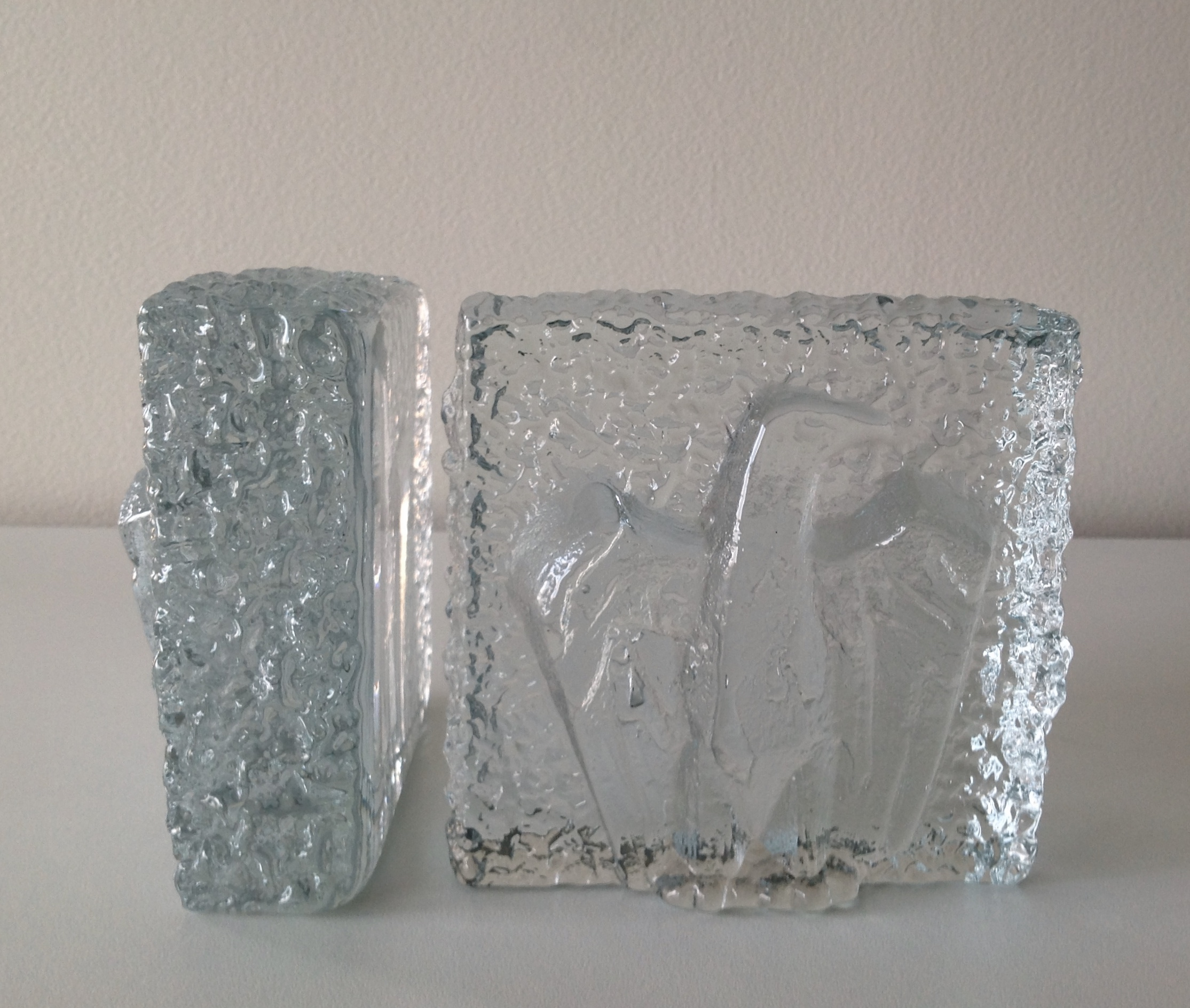 Mcm Thick Glass Textured Eagle Bookends A Pair Chairish