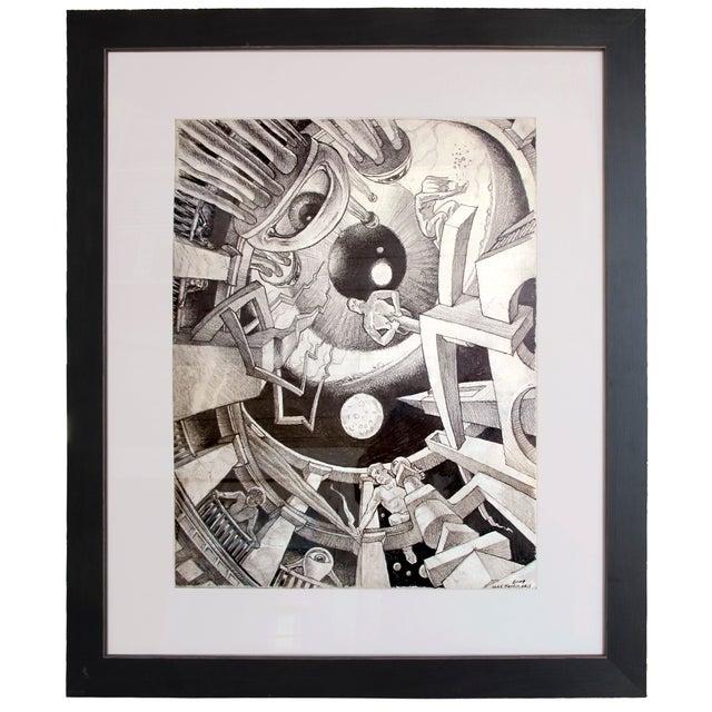 Alex Tavoularis Surrealist Original Pencil Drawing - Image 1 of 2