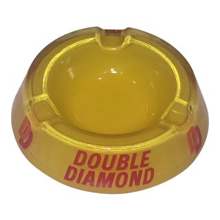 Vintage Double Diamond Yellow Glass Ashtray