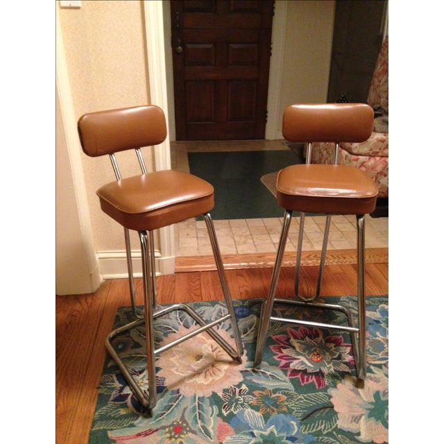 Mid-Century Art Deco Bar Stools - A Pair - Image 2 of 3