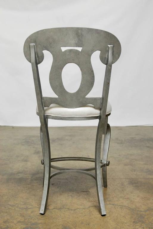 Modern Biedermeier Style Metal Barstools   Set Of 3   Image 10 Of 10