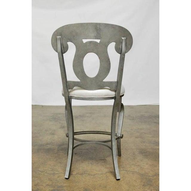 Image of Modern Biedermeier Style Metal Barstools - Set of 3