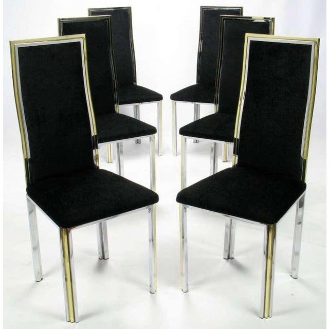 Six Chrome & Brass Dining Chairs Attributed to Romeo Rega - Image 2 of 8