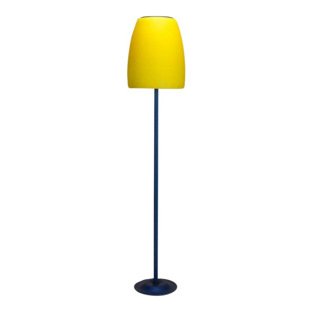 Image of Blue and Yellow Memphis Floor Lamp with Glass Shade