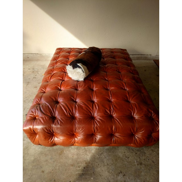 Saddle Brown Tufted Leather Ottoman - Image 5 of 6