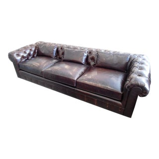 Kravet Chesterfield 3-Seat Sofa, Brown Tufted Leather