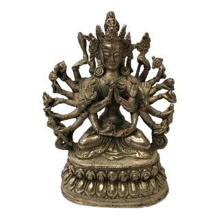 Tibetan White Metal Bodhisattvas Sculpture