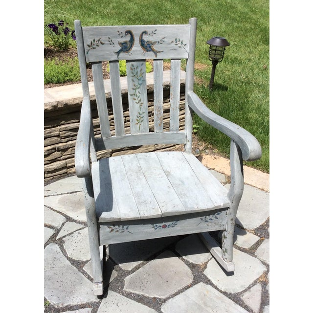 Rustic Hand Painted Rocking Chair - Image 2 of 7 - Rustic Hand Painted Rocking Chair Chairish