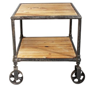 Industrial Wood & Iron Cart or Side Table