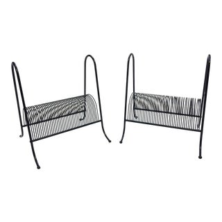 Mid Century Modern Black Wire Record Racks - A Pair