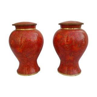 Vintage Cloisonne Vase - Pair