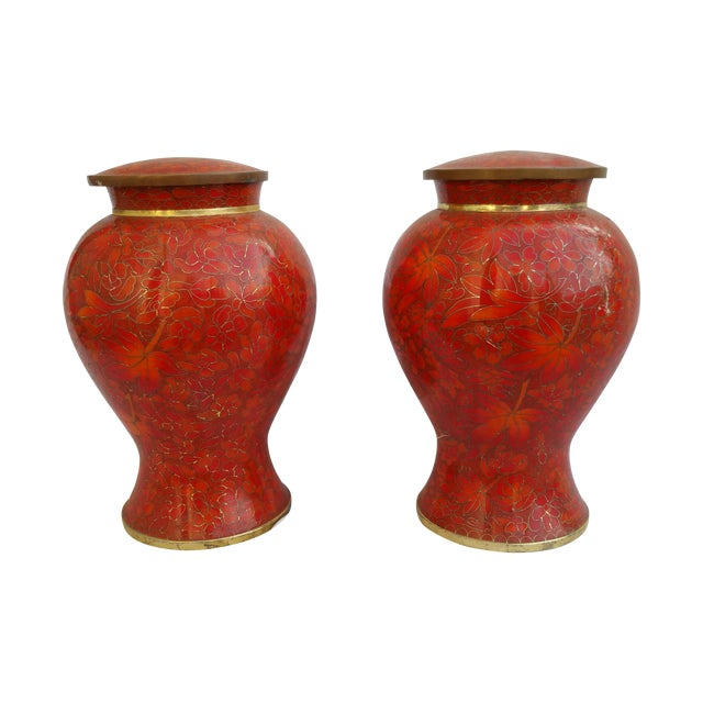 Vintage Cloisonne Vase - Pair - Image 1 of 5