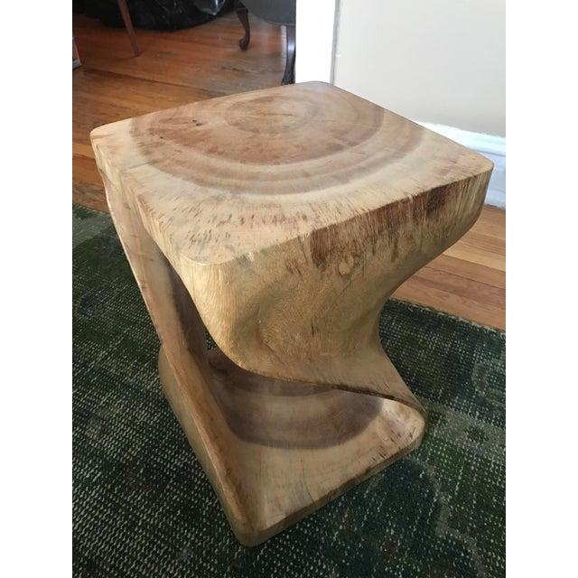 Twisting Natural Wood Stool - Image 4 of 5