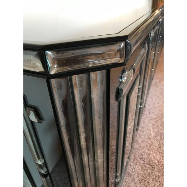 Image of Hollywood Regency All Mirrored Sideboard Cabinet