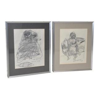 John Young Graphite Drawings - Pair