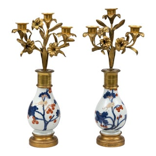 "Pair French Candelabra on ""Imari"" Stands"