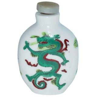 Porcelain Emerald Dragon Snuff Bottle