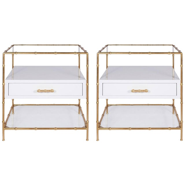 Worlds Away White Lacquer & Gold Leaf Bamboo Side Tables W/ Glass Shelves - a Pair - Image 1 of 3