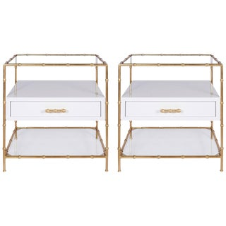 White Lacquer & Gold Leaf Bamboo Side Tables w/ Glass Shelves - A Pair