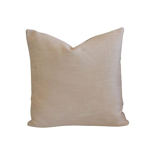 Custom Tailored Italian Gray Leather Feather/Down Pillows - Pair - Image 5 of 7