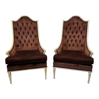 Provincial Style Tufted Brown Velvet Armchairs - A Pair