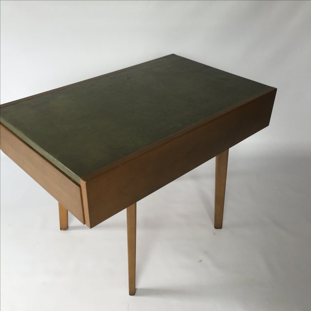 George Nelson Herman Miller Leather Top Side Table - Image 3 of 7