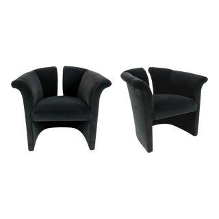 Pair of Deco Revival Lounge Chairs by Milo Baughman for Thayer Coggin