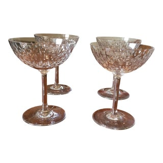 Baccarat Crystal Disco Pattern Paris Champagne Glasses - S/4