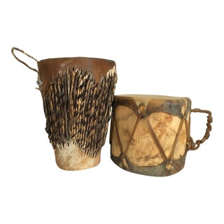 Vintage African Hide Drums - A Pair
