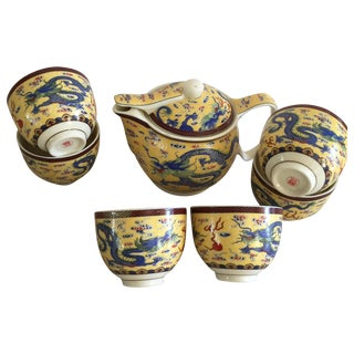 Asian Chinoiserie Cups and Teapot - Set of 7