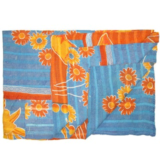 Vintage Orange And Blue Kantha Quilt