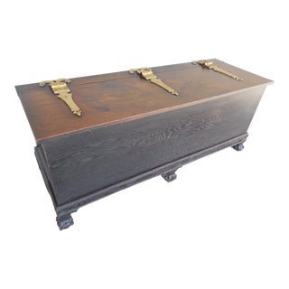 Antique Oak Ball & Claw Footed Storage Trunk