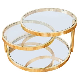 Dia Milo Baughman Brass Swivel Table
