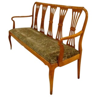 Armed Tiger Maple Antique Settee or Bench, France circa 1920's