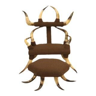 Antique Child's Texas Horn Chair & Ottoman