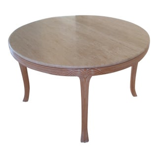 Round Travertine Top Dining Table