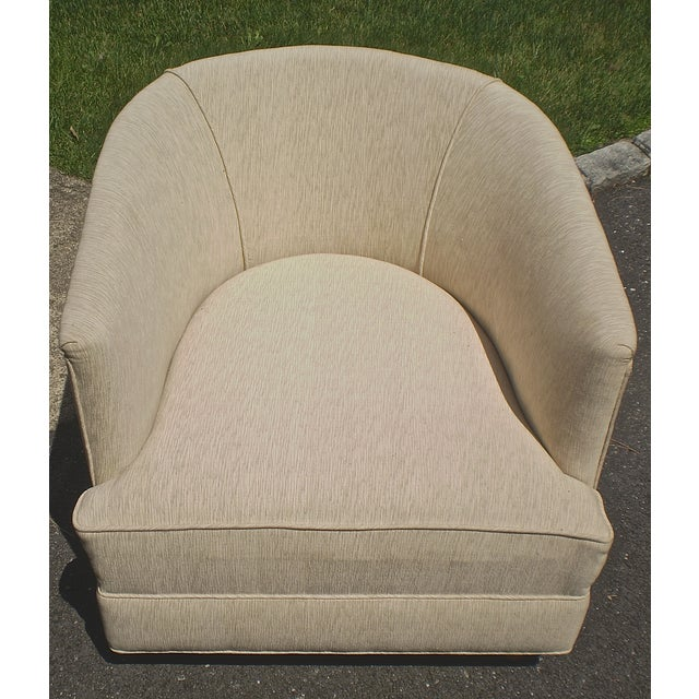 Barrel Club Chairs w/ French Fabric Pillows - Pair - Image 5 of 5